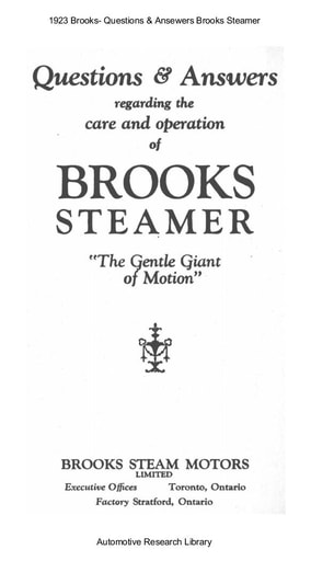 1923 Brooks   Questions & Answers   Steamer (18pgs)