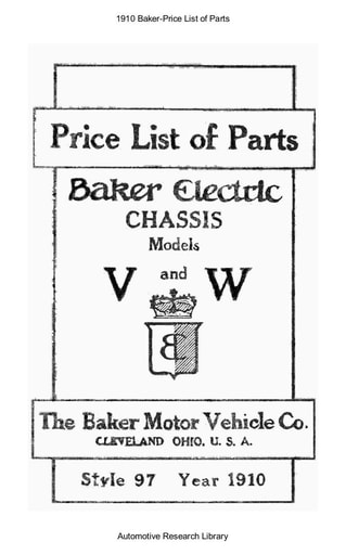1910 Baker   Price List of Parts (17pgs)