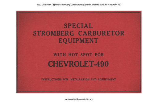 1922 Chevrolet   Special Stromberg Carburator Chevrolet 490 (11pgs)