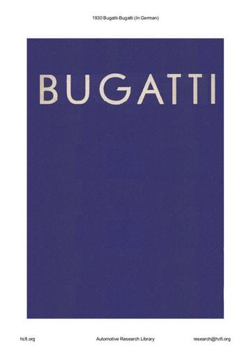 1930 Bugatti   (In German) (21pgs)