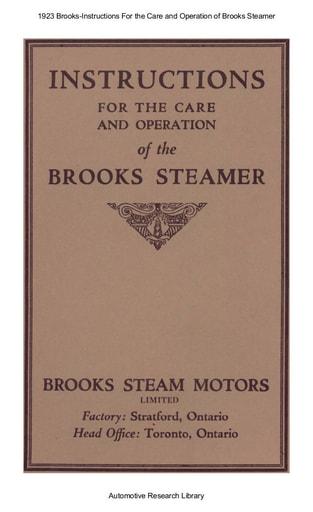 1923 Brooks   Instructions   Steamer (17pgs)