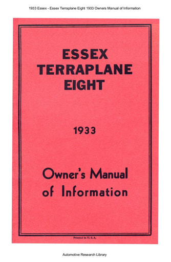 1933 Essex   Terraplane Eight Owners Manual (17pgs)
