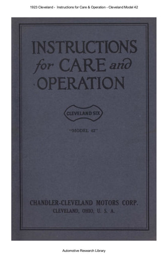 1923 Cleveland    Inst  Model 42 (49pgs)