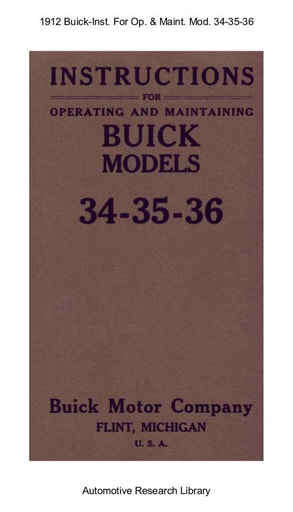 1912 Buick   Inst  For Operating Mod  34 35 36 (31pgs)