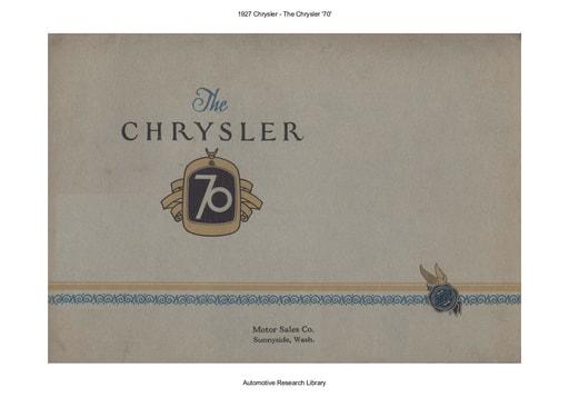 1927 Chrysler   The Chrysler '70' (13pgs)