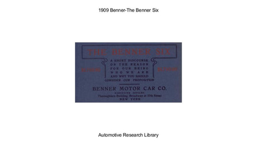 1909 Benner   The Six (18pgs)