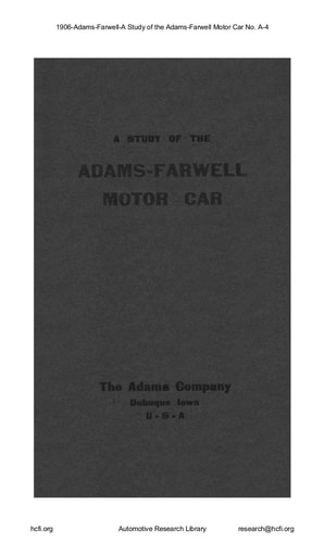 1906 Adams Farwell A Study of the A 4 (32pgs)