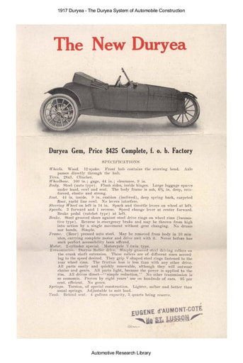 1917 Duryea System of Automobile Construction (2pgs)
