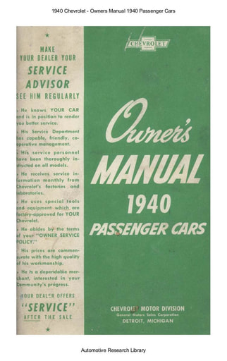 1940 Chevrolet   Owners Manual Passenger Cars (65pgs)