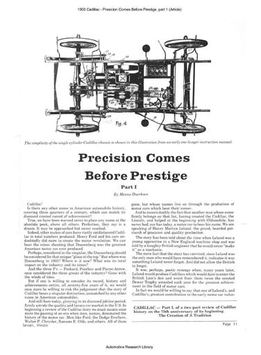 1903 Cadillac   Presicion Comes Before Prestige, part 1 (Article) (12pgs)