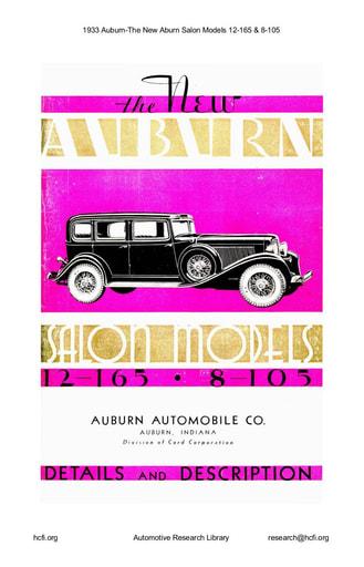 1933 Auburn   The New Salon Models 12 165 & 8 105 (78pgs)