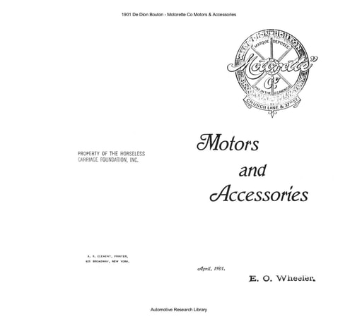 1901 De Dion Bouton Motorette Co Motors & Accessories (15pgs)