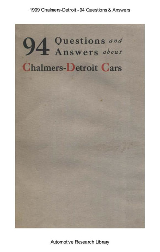 1909 Chalmers Detroit   94 Questions & Answers (33pgs)
