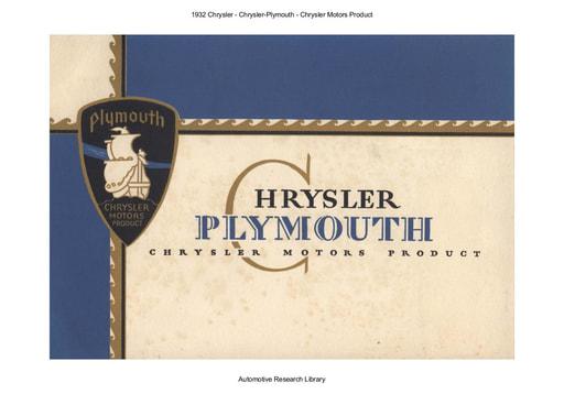 1932 Chrysler   Chrysler Plymouth Motors Product (20pgs)