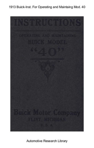 1913 Buick   Inst  For Operating Mod  40 (44pgs)