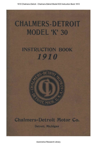 1910 Chalmers Detroit   Model K30 Inst  Book (39pgs)