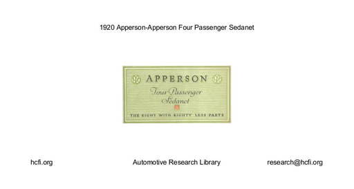 1920 Apperson   Four Passenger Sedanet (4pgs)