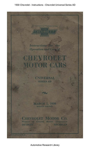 1930 Chevrolet   Inst  Universal Series AD (69pgs)