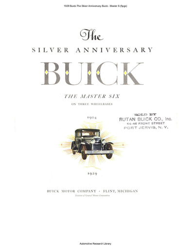 1929 Buick The Silver Anniversary Buick   Master 6 (5pgs)