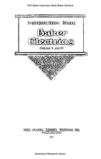 1910 Baker   Instruction Book (25pgs)