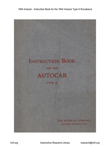 1904 Autocar   Inst  Book Type X Runabaout (20pgs)