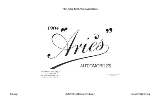 1904 Aries Automobiles (6pgs)