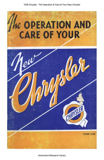 1939 Chrysler   The Operation & Care (57pgs)