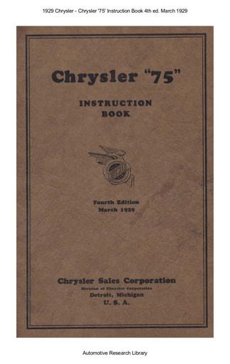 1929 Chrysler   75 Instruction Book 4th ed  Mar  (92pgs)