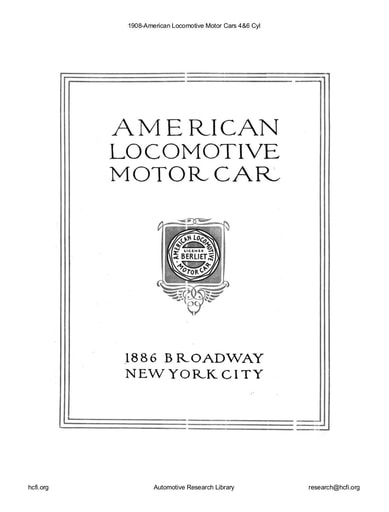 1908 American Locomotive Motor Cars 4&6 Cyl (24pgs)