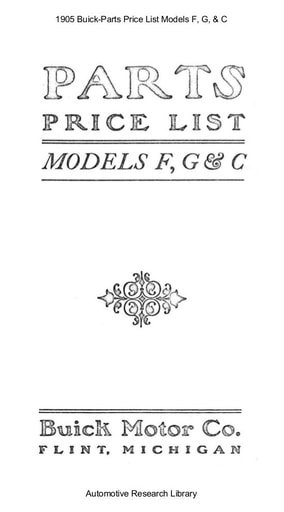 1905 Buick   Parts Price List Models F, G, & C (27pgs)