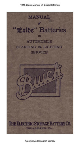 1915 Buick   Manual Of Exide Batteries (45pgs)