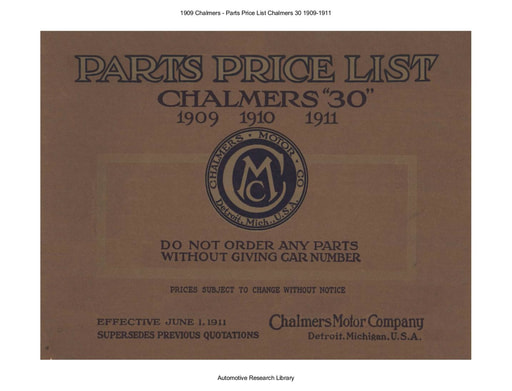 1909 Chalmers   Parts Price List Model 30 (188pgs)