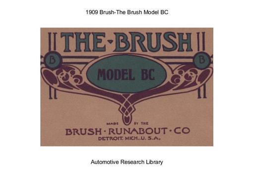 1909 Brush   The Model BC (31pgs)
