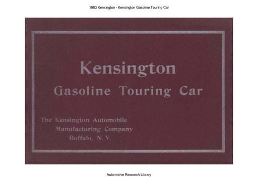1903 Kensington   Kensington Gasoline Touring Car
