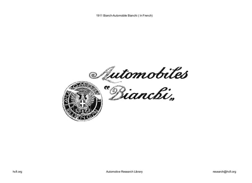 1911 Bianch   Automobile Bianchi (In French) (18pgs)