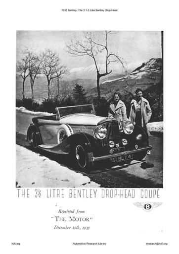 1935 Bentley   3 1 2 Litre Drop Head (4pgs)