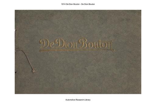 1914 De Dion Bouton (16pgs)