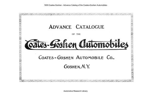 1909 Coates Goshen   Advance Catalog (15pgs)