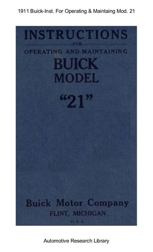 1911 Buick   Inst  For Operating & Maintaing Mod  21 (25pgs)