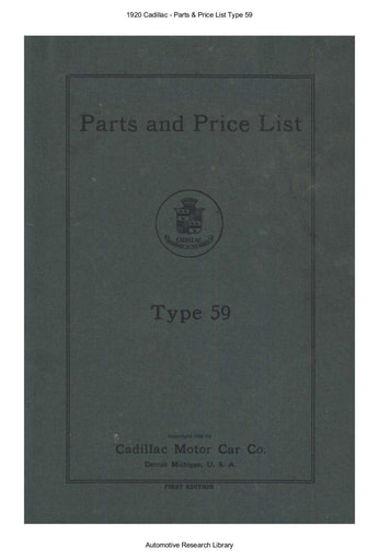 1920 Cadillac   Parts & Price List Type 59 (150pgs)