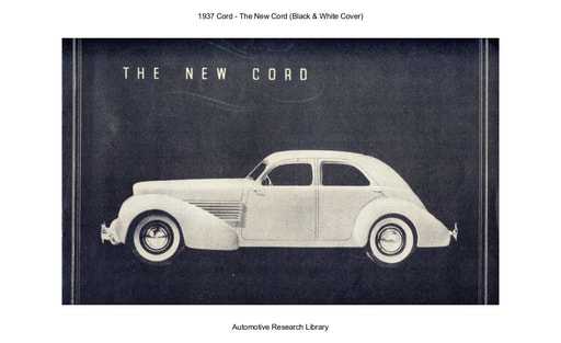 1937 Cord   The New Cord (B&W Cover) (11pgs)