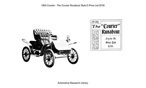 1905 Courier   Runabout Style D Price List $700 (4pgs)