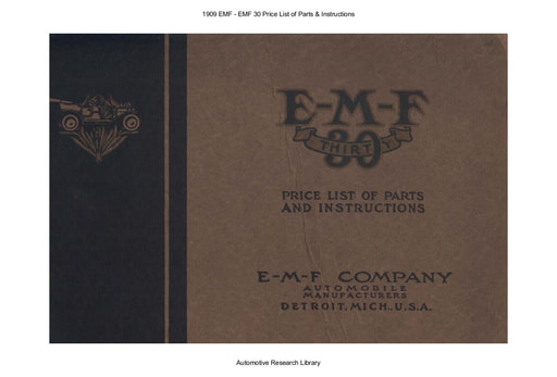 1909 EMF   30 Price List of Parts & Inst  (65pgs)