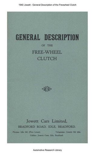 1940 Jowett   General Description of the Freewheel Clutch (12pgs)