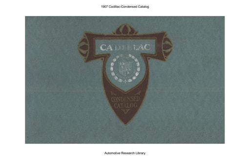 1907 Cadillac Condensed Catalog (21pgs)