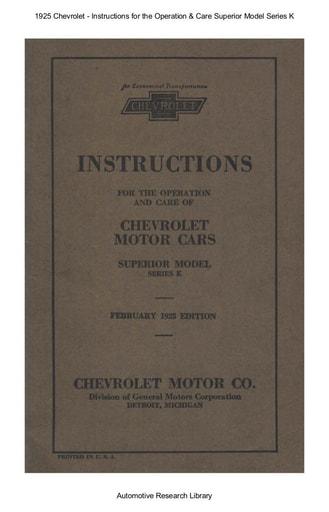 1925 Chevrolet   Inst  Superior Model Series K (91pgs)