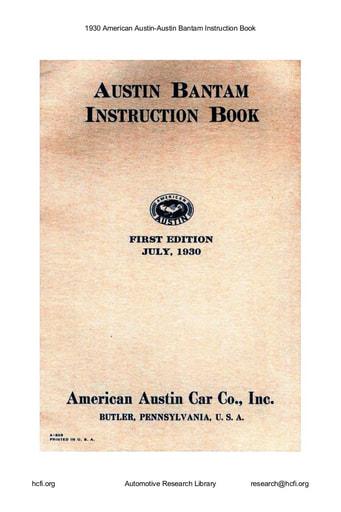 1930 American Austin   Bantam Inst  Book (21pgs)