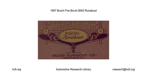 1907 Brush   $500 Runabout (21pgs)