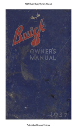 1937 Buick   Owners Manual (98pgs)