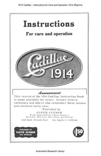 1914 Cadillac   Instructions (Reprint) (70pgs)